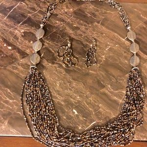 Longe grey multicolored necklace and earrings